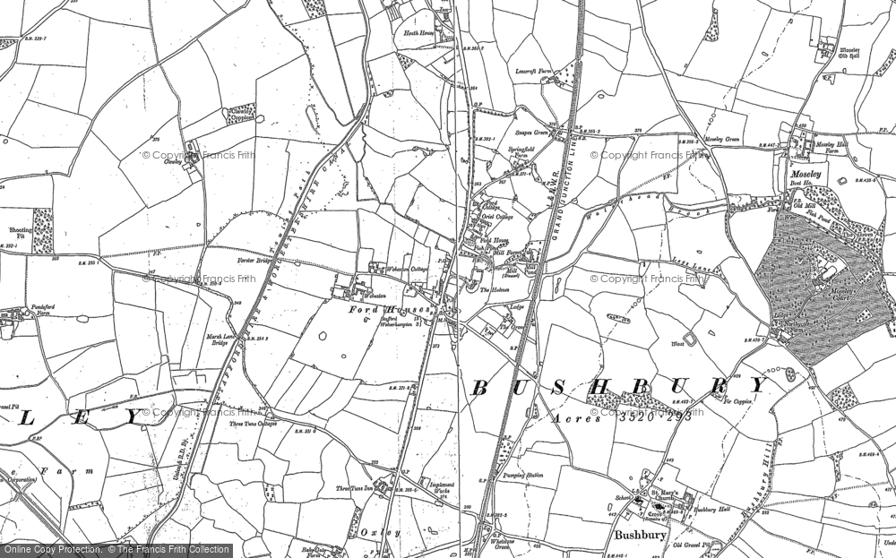Old Map of Fordhouses, 1883 in 1883