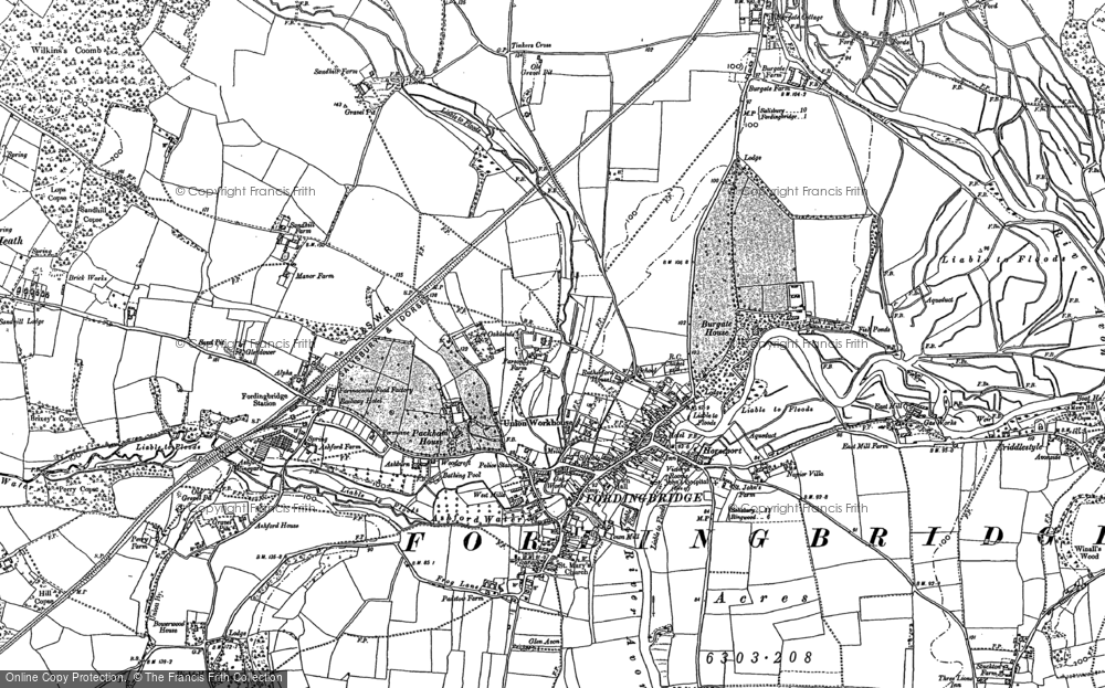 Old Map of Historic Map covering Ashford in 1895