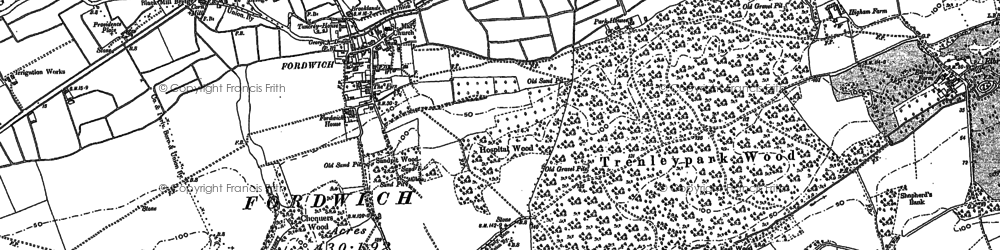 Old map of Fordwich in 1896