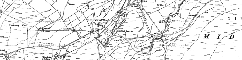 Old map of Whinney Fell in 1898