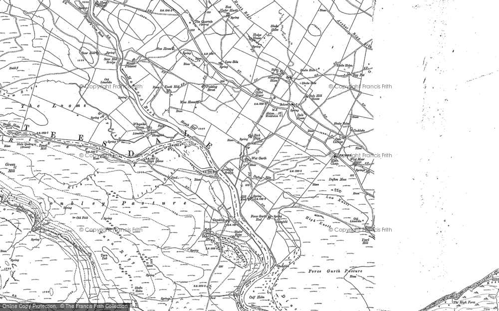 Old Map of Historic Map covering Wool Pits Hill in 1895