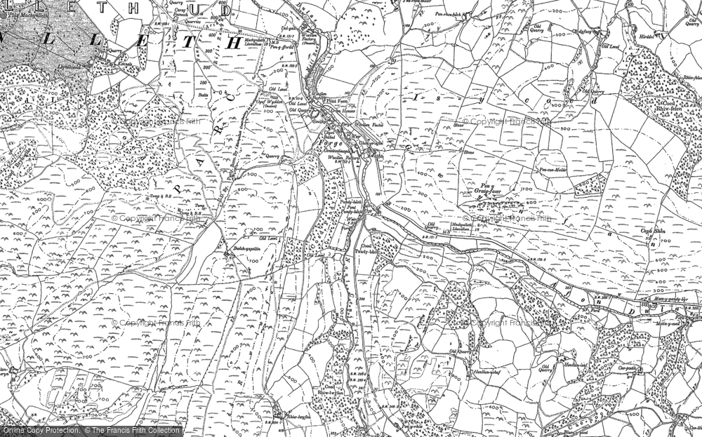 Old Map of Historic Map covering Allt-cae-melyn in 1886