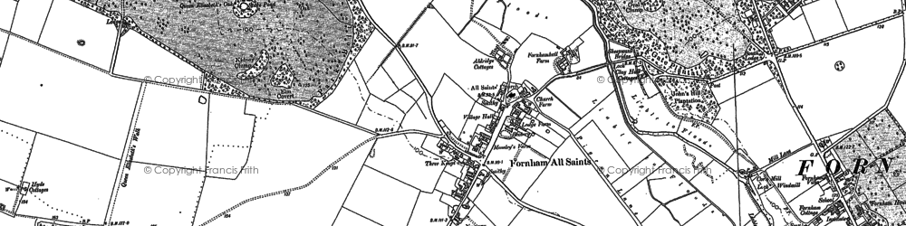 Old map of Fornham All Saints in 1883