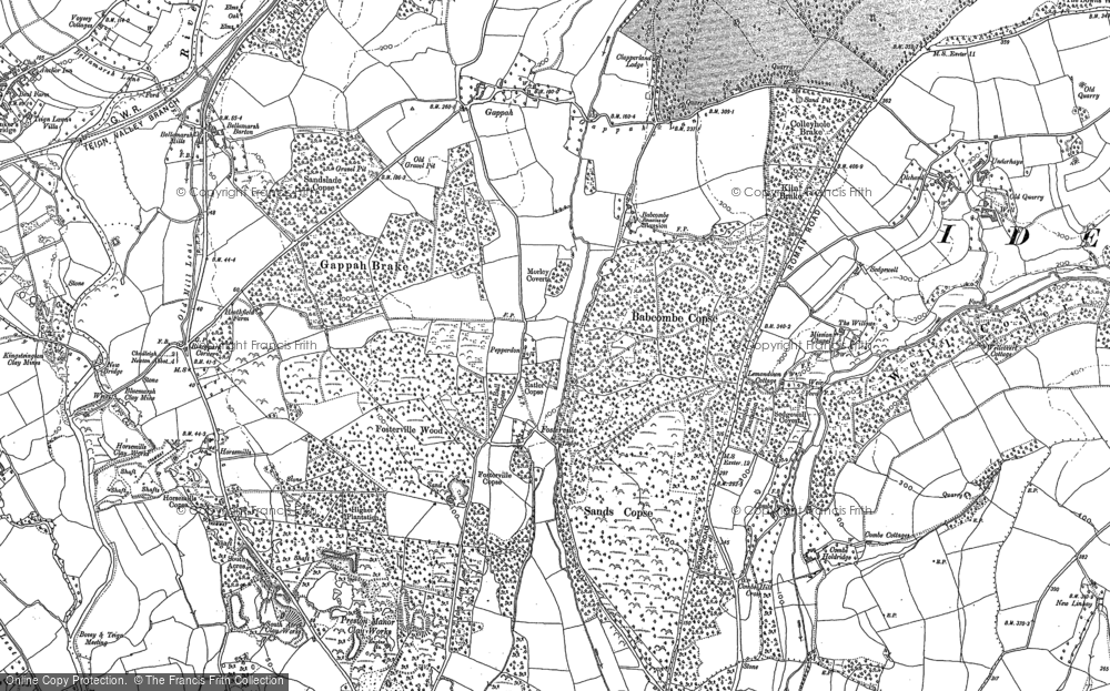 Old Map of Historic Map covering Babcombe in 1887