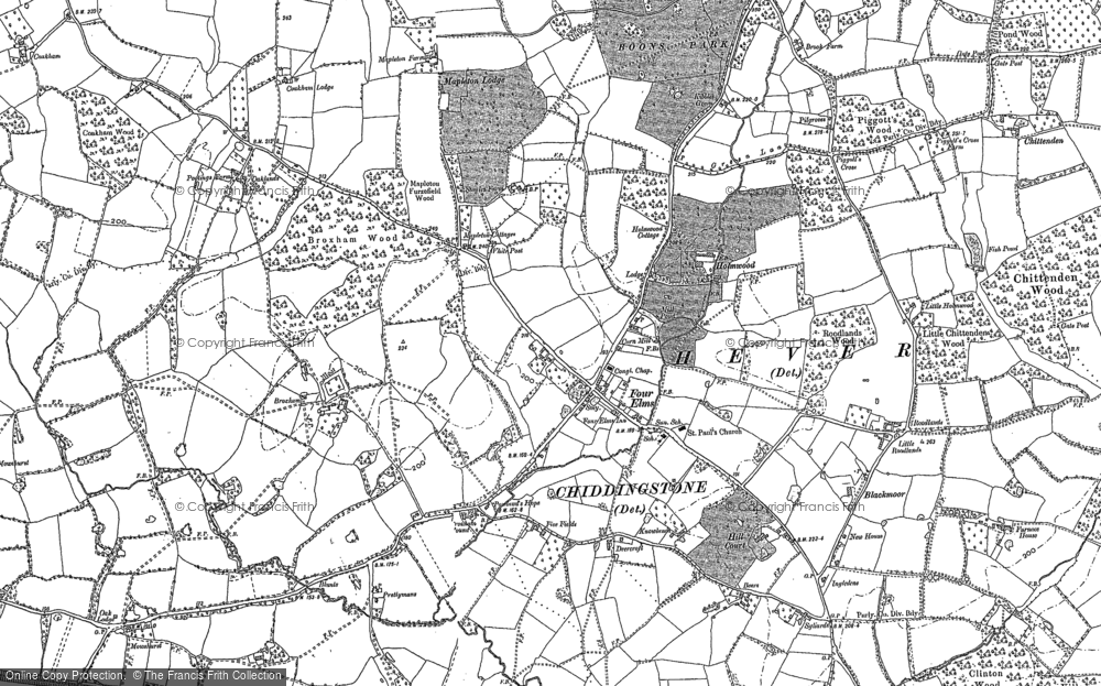Old Map of Four Elms, 1907 in 1907