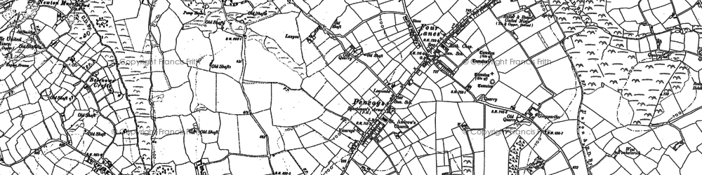 Old map of Four Lanes in 1878