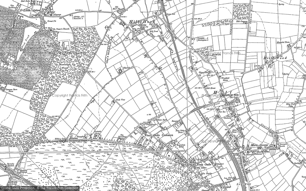 Old Map of Historic Map covering Ley Hill in 1887