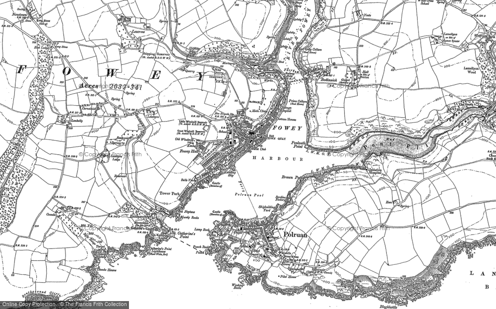 Old Map of Fowey, 1906 in 1906