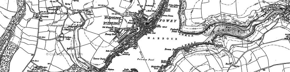 Old map of Fowey in 1906