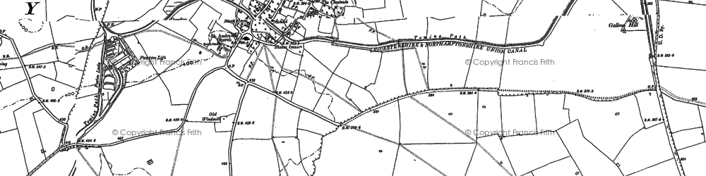 Old map of Foxton in 1885