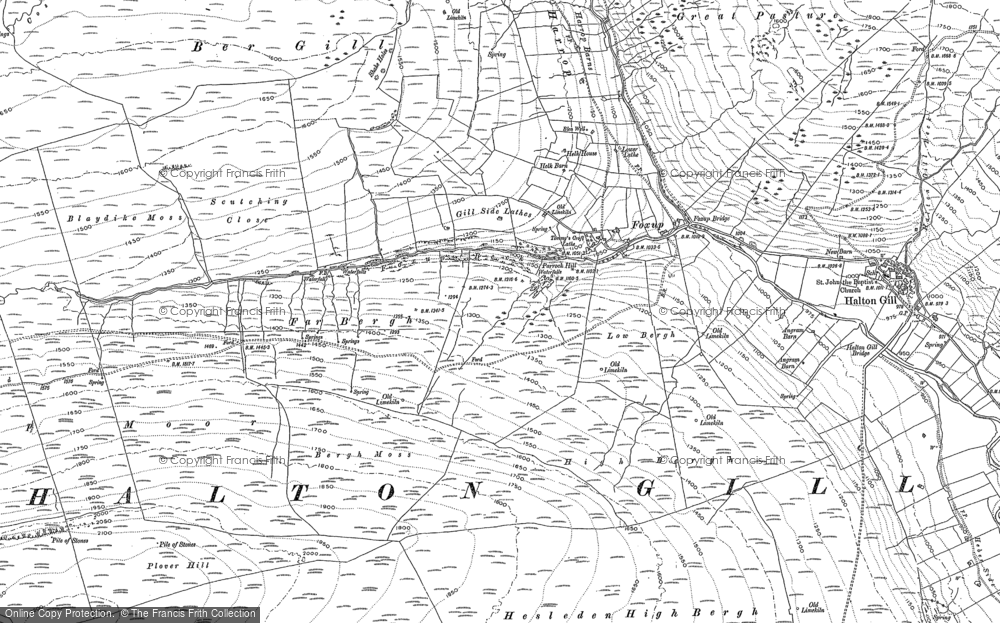 Old Map of Historic Map covering Yorkshire Dales National Park in 1907
