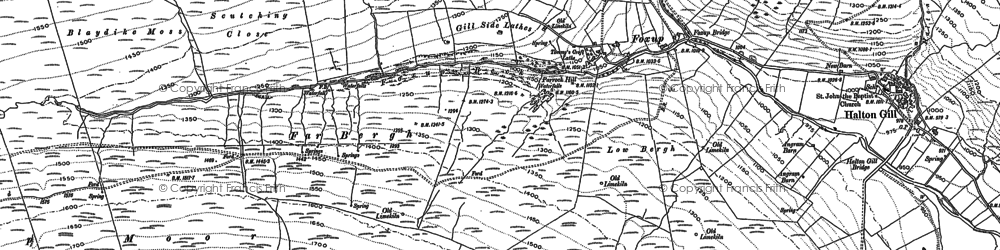 Old map of Yorkshire Dales National Park in 1907