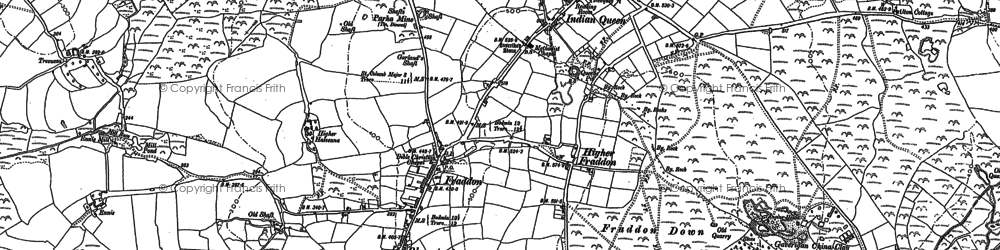Old map of Fraddon in 1879