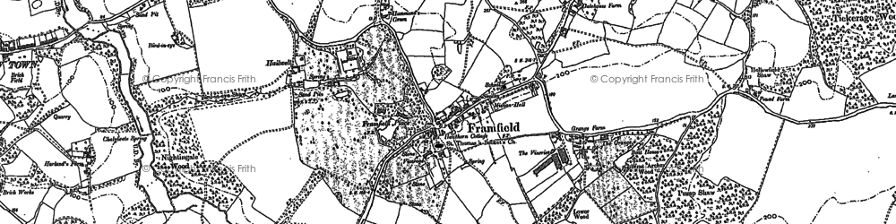 Old map of Framfield in 1908