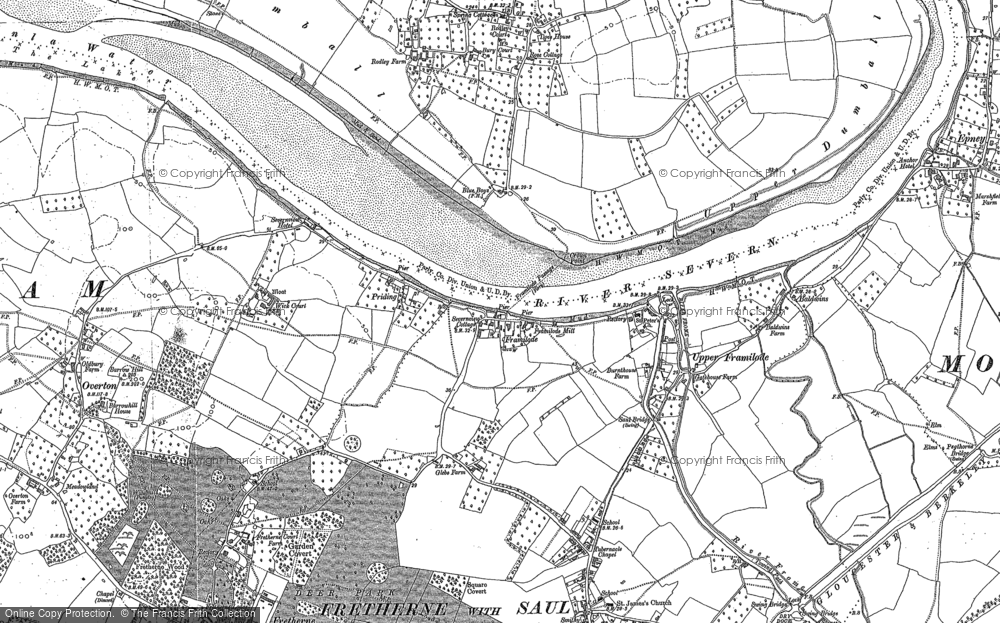 Old Map of Historic Map covering Whitminster Ho in 1880