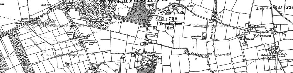 Old map of Framingham Earl in 1881
