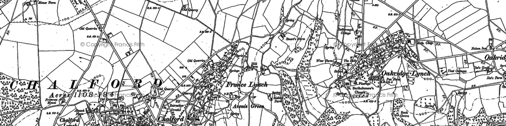 Old map of France Lynch in 1882