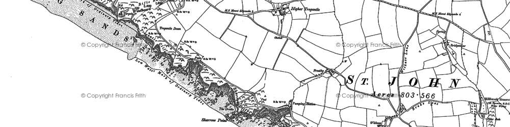 Old map of Withnoe Barton Fm in 1905