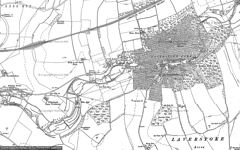 Old Map of Historic Map covering Laverstoke Ho in 1894