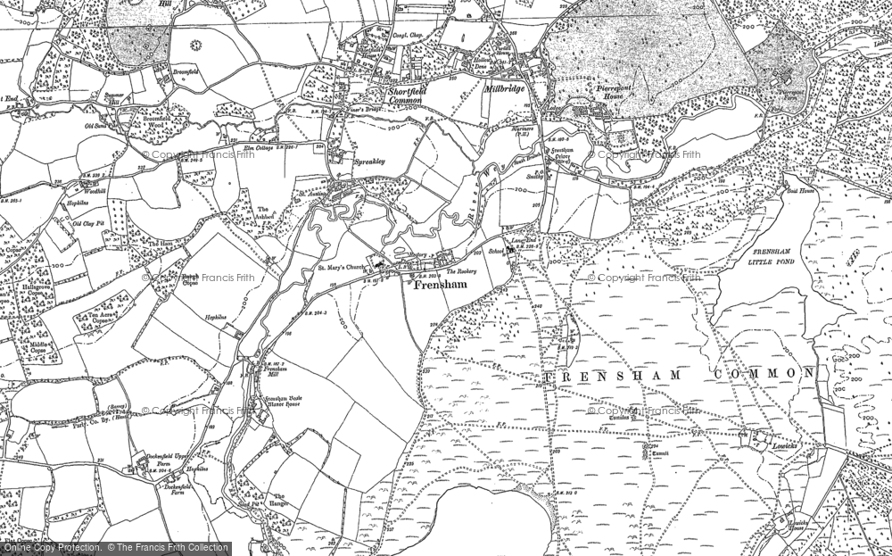 Old Map of Frensham, 1913 in 1913