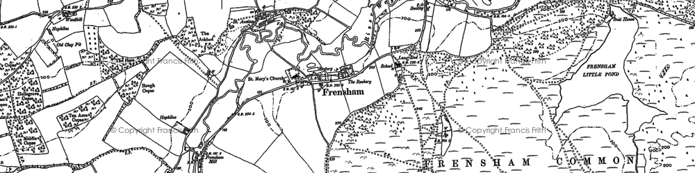 Old map of Frensham in 1913
