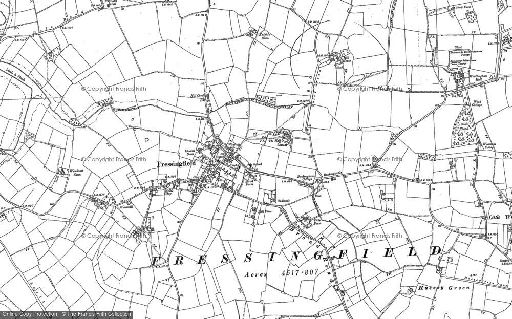 Old Map of Historic Map covering Whittingham Hall in 1882