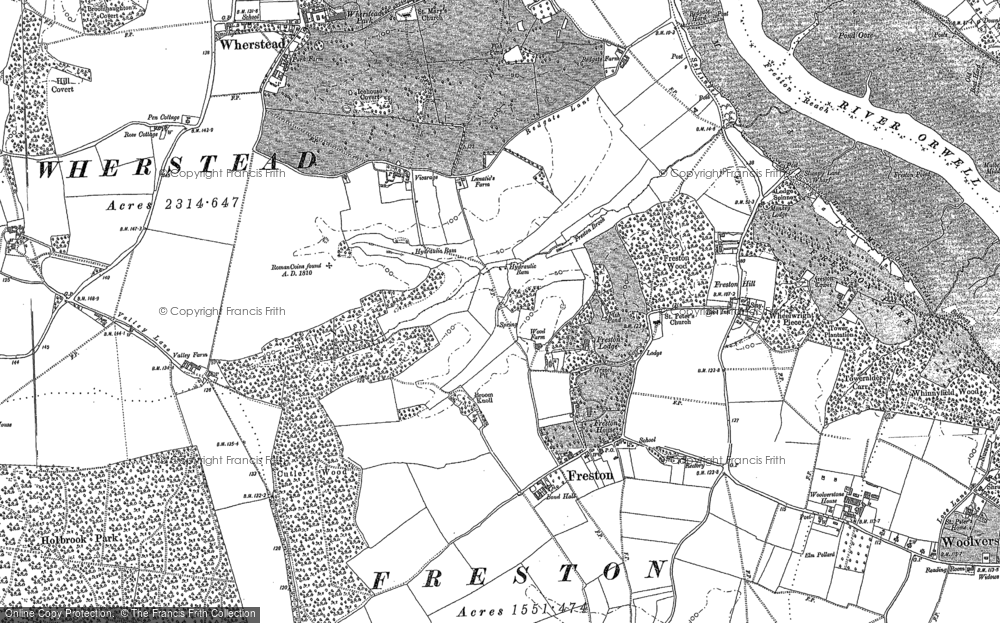 Old Map of Freston, 1881 in 1881