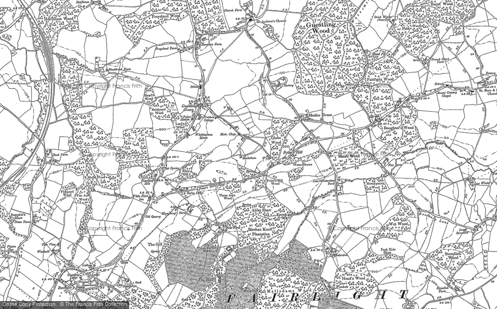 Old Map of Historic Map covering Bachelor's Bump in 1907