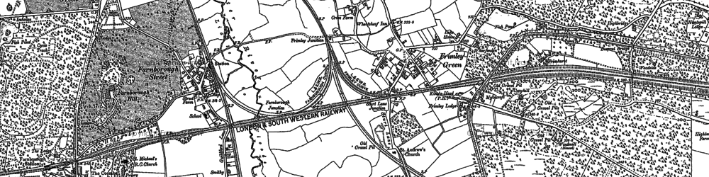 Old map of Frimley Green in 1918