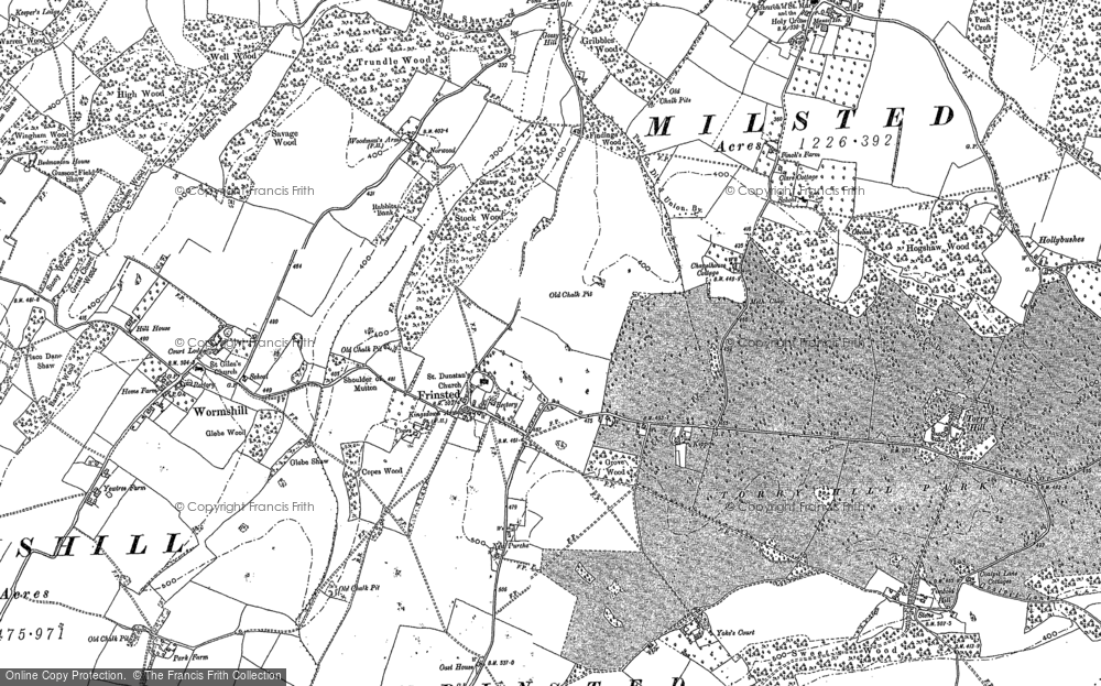 Old Map of Historic Map covering Wrinsted Court in 1896