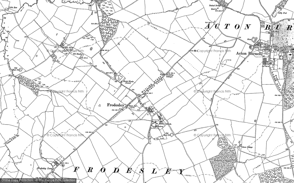 Old Map of Frodesley, 1882 in 1882