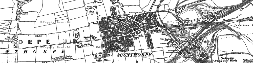 Old map of Frodingham in 1885