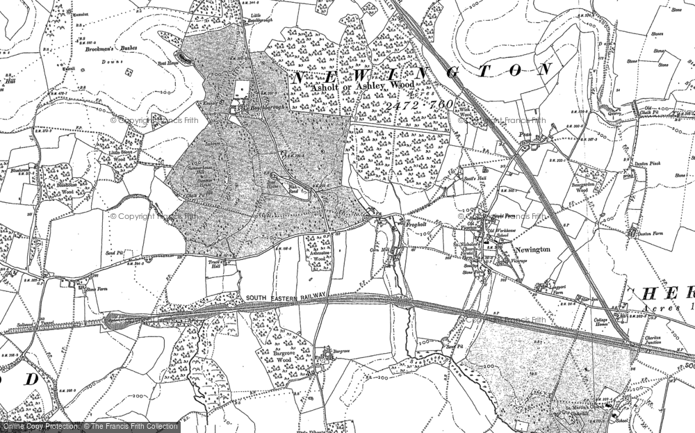 Old Map of Historic Map covering Ashley in 1906