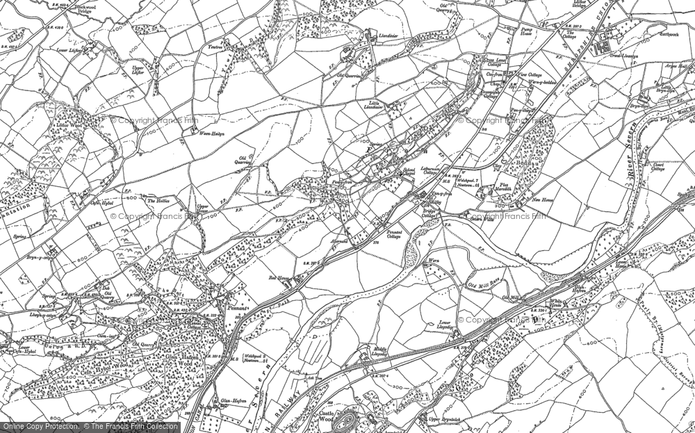 Old Map of Historic Map covering Abernant in 1884
