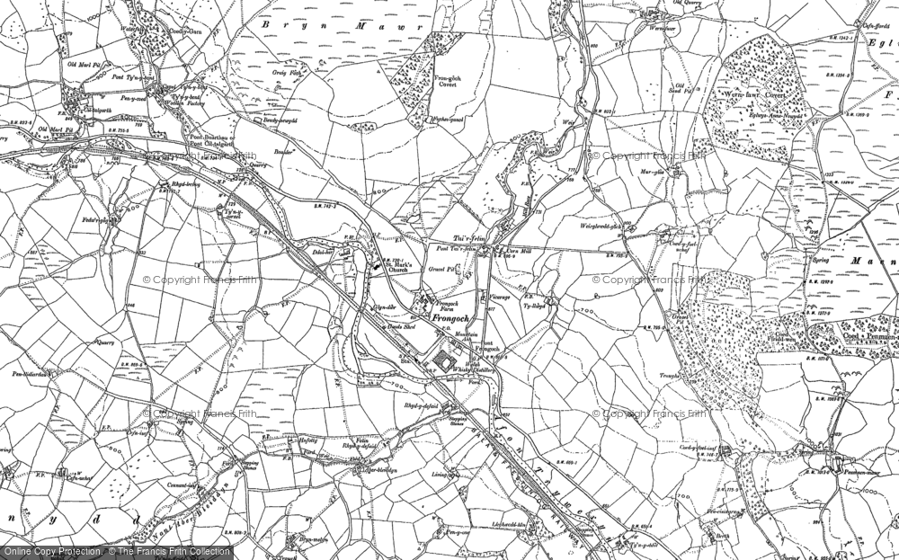 Old Map of Historic Map covering Afon Mynach in 1886