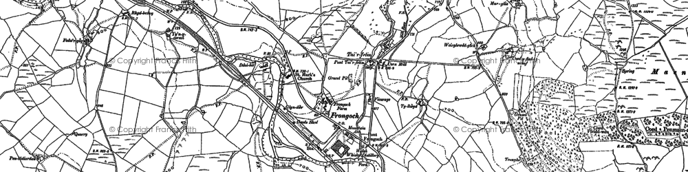 Old map of Afon Mynach in 1886