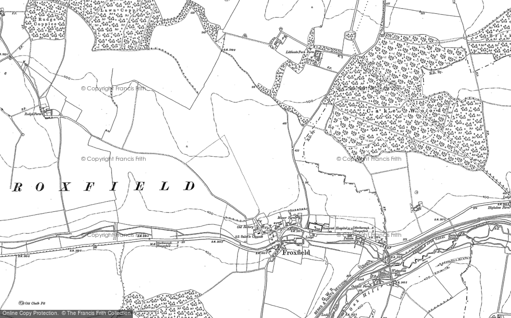 Old Map of Historic Map covering Almshouse Copse in 1909
