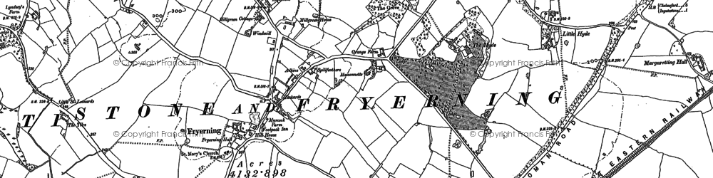 Old map of Fryerning in 1895