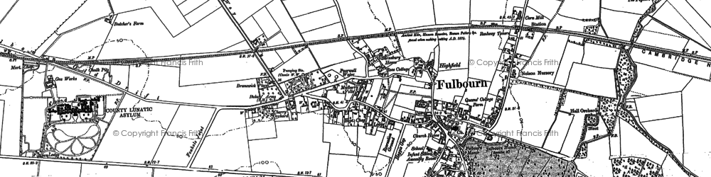 Old map of Fulbourn in 1885