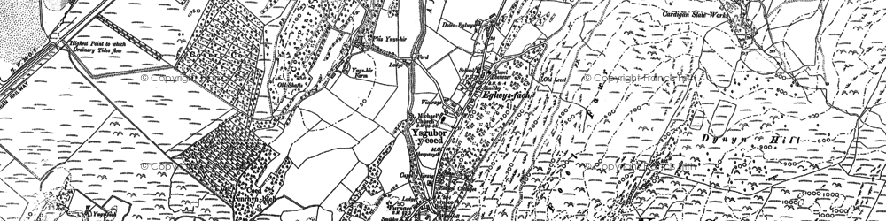 Old map of Ynys Greigiog in 1900