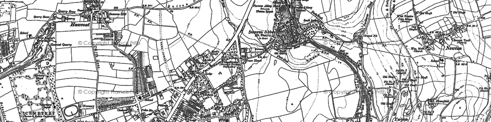Old map of Furness Abbey in 1910
