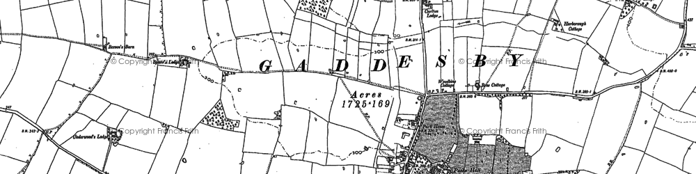 Old map of Gaddesby in 1884