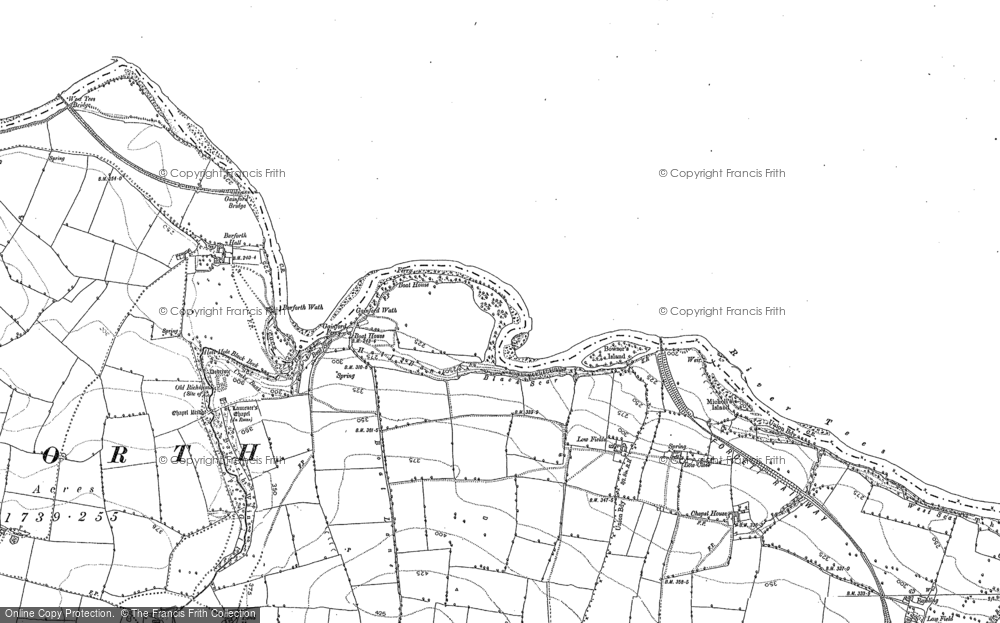 Old Map of Gainford, 1896 - 1912 in 1896