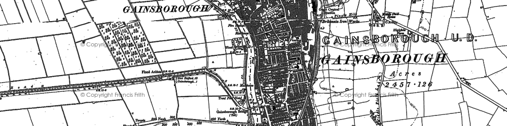 Old map of Gainsborough in 1885