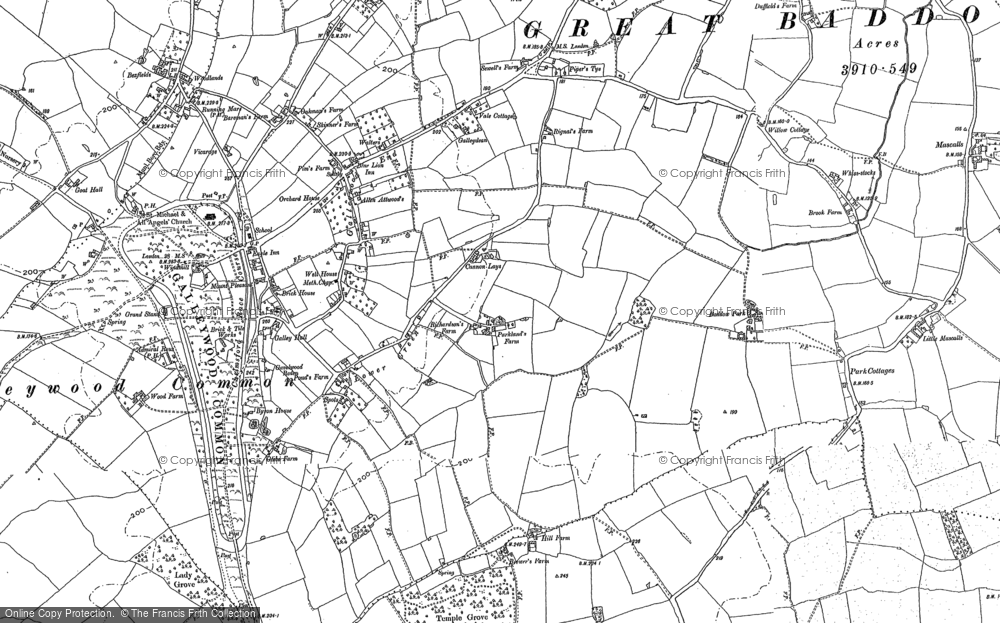 Old Map of Historic Map covering Baddow Park in 1895