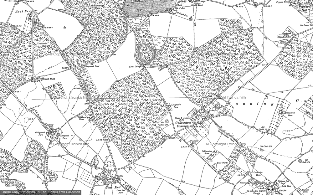 Old Map of Historic Map covering Wyfold Grange in 1897