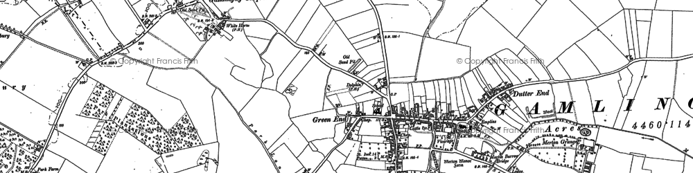 Old map of Gamlingay in 1900