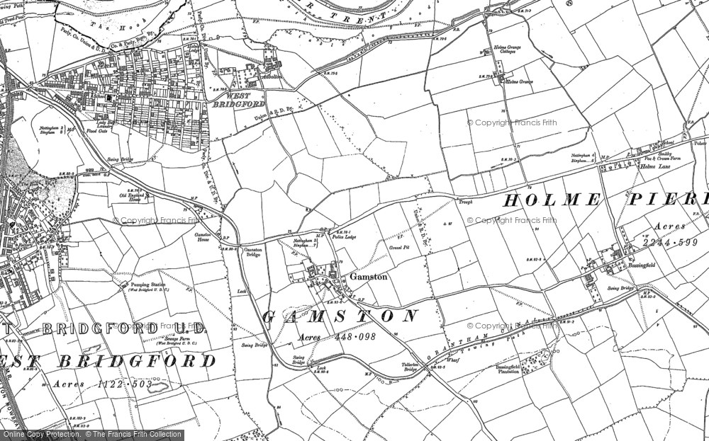 Old Map of Historic Map covering Adbolton in 1881