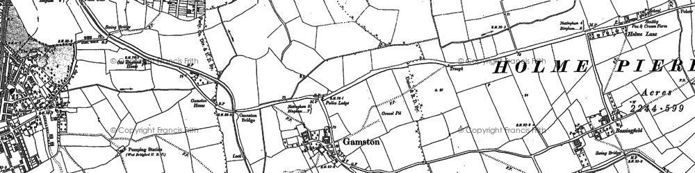 Old map of Adbolton in 1881