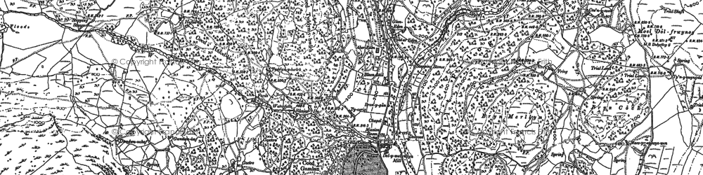 Old map of Afon Gamlan in 1887